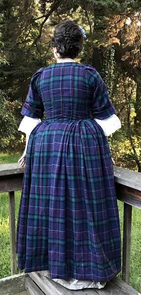 1740s Reproduction Plaid Dress Panier Back.