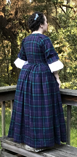 1740s Reproduction Plaid Dress Panier Right Quarter View.