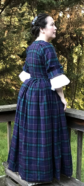 1740s Reproduction Plaid Dress Panier Right.