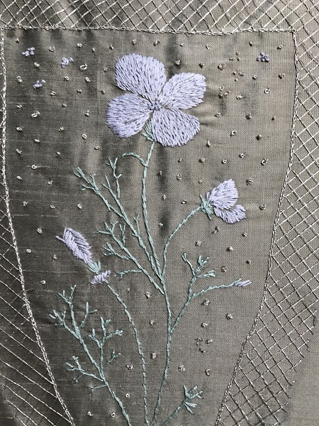1740s Reproduction Embroidered Stomacher Detail.