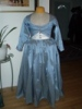 Reproduction 1792 blue silk zone front gown: front view