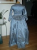Reproduction 1792 blue silk zone front gown: back view