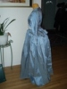 Reproduction 1792 blue silk zone front gown: left view