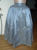 Reproduction 1792 blue silk zpetticoat: front view