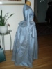 Reproduction 1792 blue silk zone front gown: right view