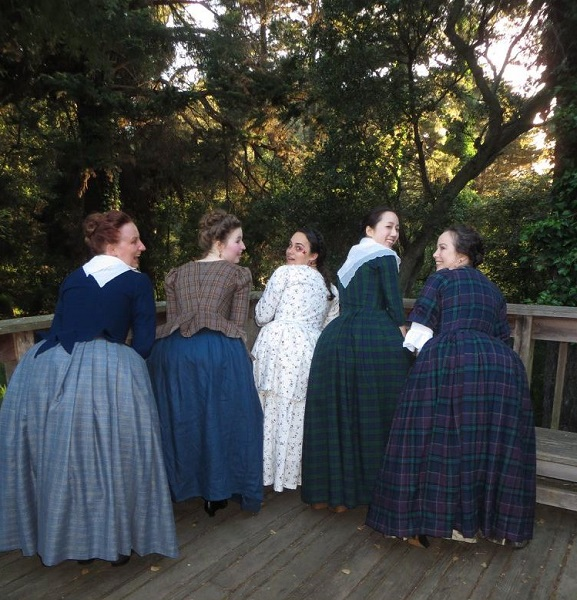 1740s Reproduction Outlander Plaid Dresses at the GBACG An Outlandish Affair May 2017. Photo by Christopher Erickson