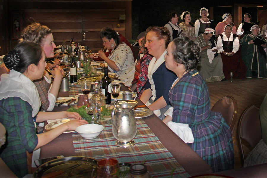 1740s Reproduction Outlander Plaid Dresses at the GBACG An Outlandish Affair May 2017. Photo by Lori Clayson