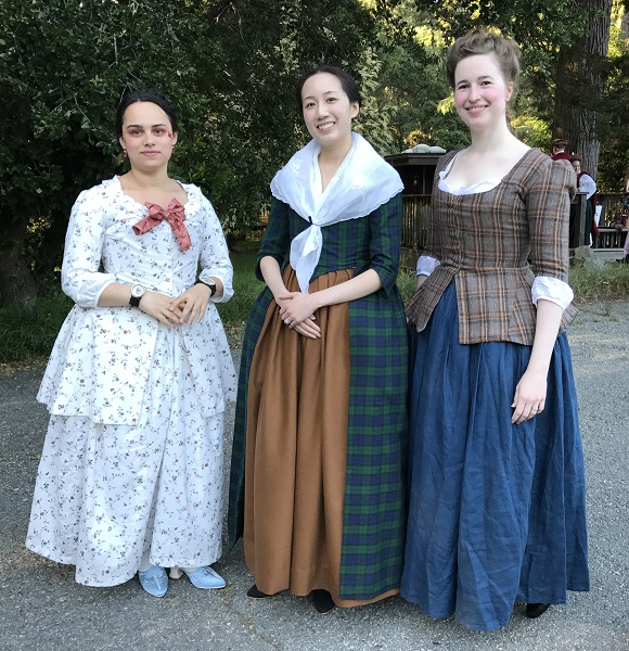 1740s Reproduction Outlander Plaid Dresses at the GBACG An Outlandish Affair May 2017.