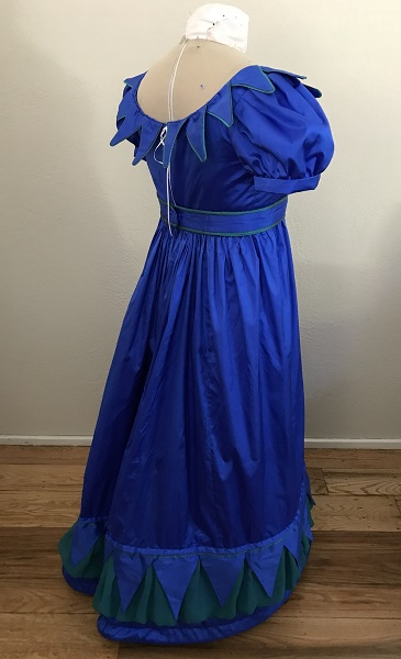 Reproduction 1820s Blue Dress with Van Dyke Points Back Right Quarter View.