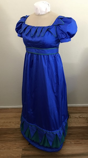 Reproduction 1820s Blue Dress with Van Dyke Points Left Quarter View.