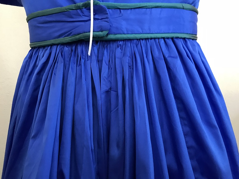 Reproduction 1820s Blue Dress with Van Dyke Points Pleats.