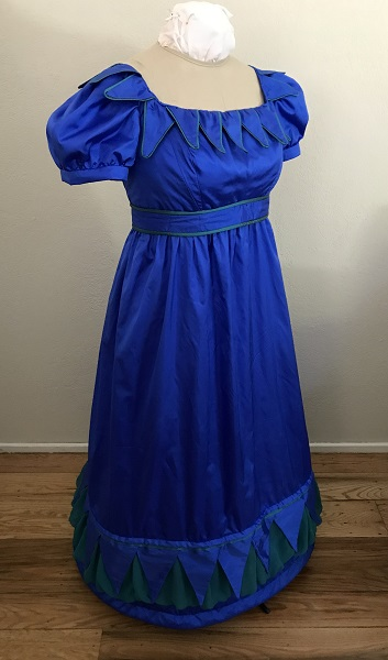Reproduction 1820s Blue Dress with Van Dyke Points Right Quarter View.