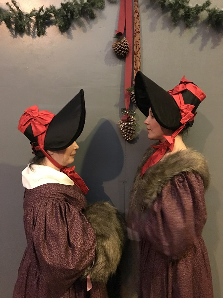 1830s Reproduction Plum Day Dresses at Dickens Fair 2018