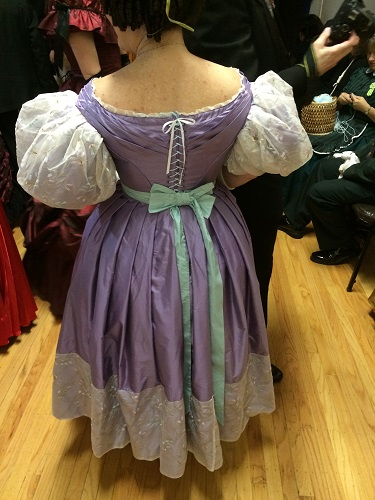 1830s reproduction lavender purple silk romantic era dress back