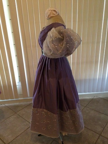 1830s reproduction lavender purple silk romantic era dress side