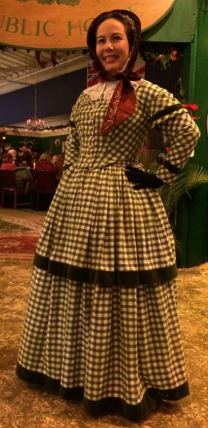 1840s Reproduction Green Plaid Daydress Round Gown. Dickens Fair 2015.