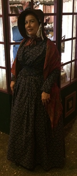1840s Reproduction Fan Front Navy Daydress. Dickens Fair 2016.