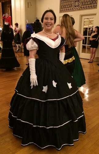 Reproduction Mid Victorian Dark Navy Ballgown