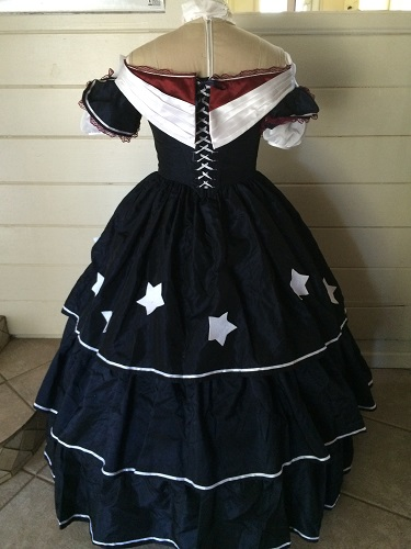 Reproduction Mid Victorian Dark Navy Ballgown Back
