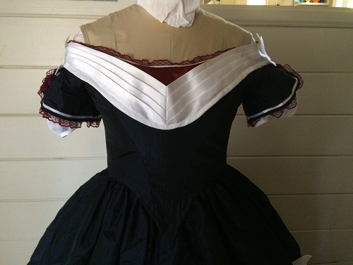 Reproduction Mid Victorian Dark Navy Ballgown Bodice Front