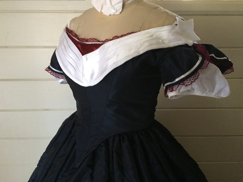 Reproduction Mid Victorian Dark Navy Ballgown Bodice Left Quarter