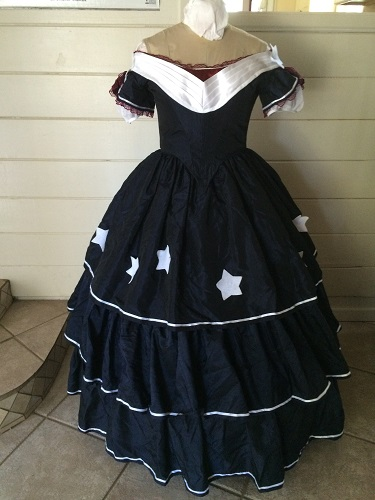 Reproduction Mid Victorian Dark Navy Ballgown Front