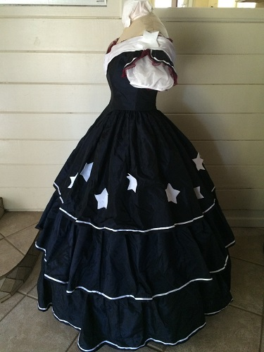 Reproduction Mid Victorian Dark Navy Ballgown Left