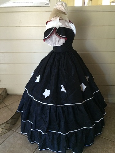 Reproduction Mid Victorian Dark Navy Ballgown Right