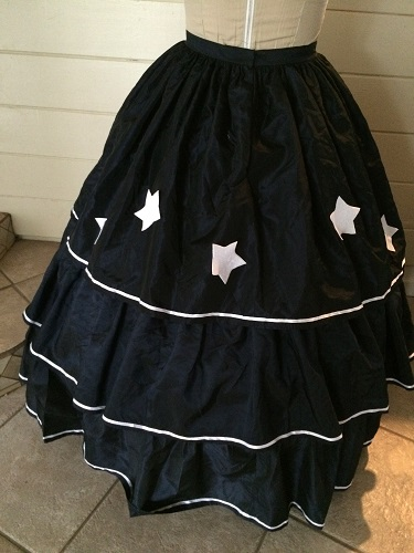 Reproduction Mid Victorian Dark Navy Ballgown Skirt Back