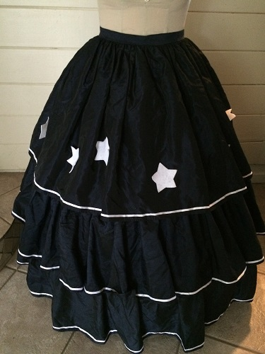 Reproduction Mid Victorian Dark Navy Ballgown Skirt Front