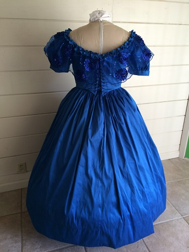 1850s Reproduction Victorian Blue Ballgown Back