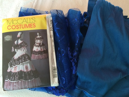 McCall's M4744 Victorian Ballgown Bodice Pattern and blue fabric