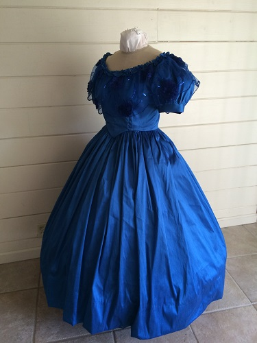 1850s Reproduction Victorian Blue Ballgown Left 3/4 View