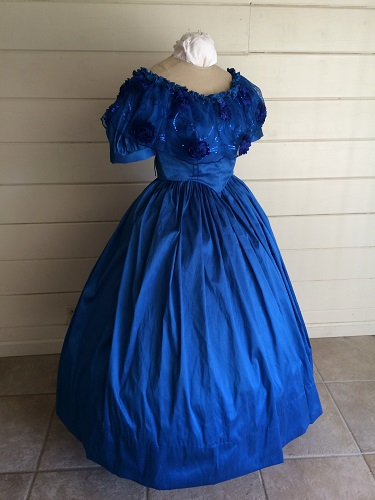 1850s Reproduction Victorian Blue Ballgown Right 3/4 View