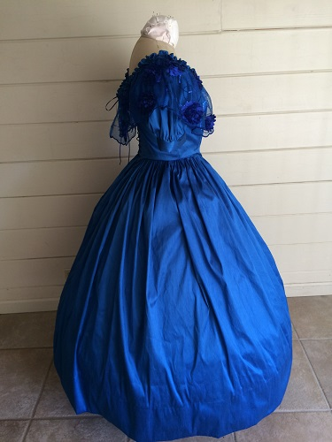 1850s Reproduction Victorian Blue Ballgown Right