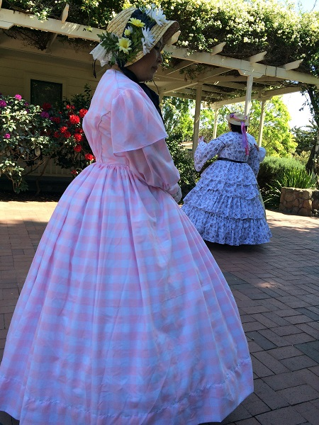 1850s Reproduction Sheer Pink Day Dress at the GBACG BBQ at Rengstorff April 2015. Photo by Christopher Erickson