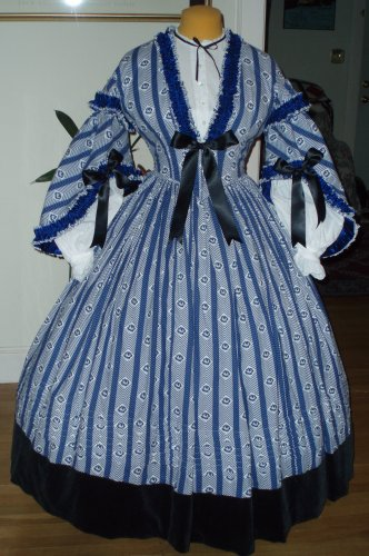 1860s Blue Stripe Daydress