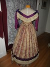 1860s Reproduction Floral Striped Evening Dress back