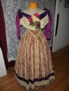 1860s Reproduction Floral Striped Evening Dress front