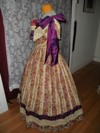 1860s Reproduction Floral Striped Evening Dress left