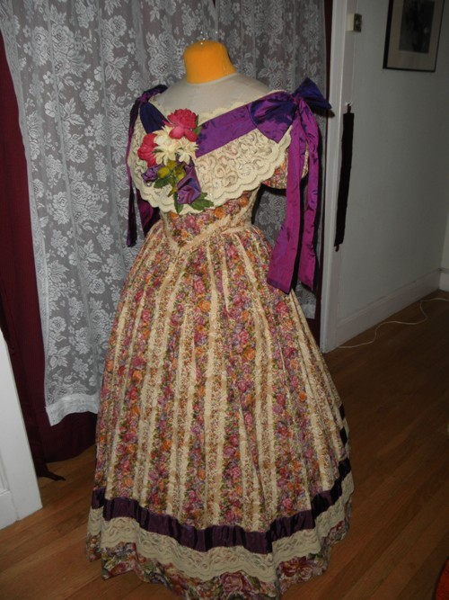 1860s Reproduction Floral Striped Evening Dress quarter view