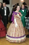 1860s reproduction floral stripe evening dress at PEERS dance January 2011