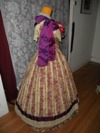 1860s Reproduction Floral Striped Evening Dress right