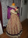 1860s Reproduction Floral Striped Evening Dress right three quarter view
