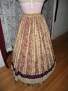 1860s reproduction striped evening dress skirt back