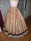 1860s reproduction striped evening dress skirt left