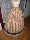 1860s reproduction striped evening dress skirt right