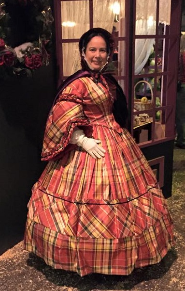 1860s Reproduction Red Plaid Daydress. Dickens Fair 2015. Photo by Vivien Lee.