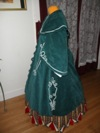 Reproduction Mid-Victorian Cloak/Coat  blue corderoy left three quarter view