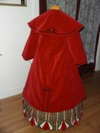 Reproduction Mid-Victorian Cloak/Coat red velveteen  back